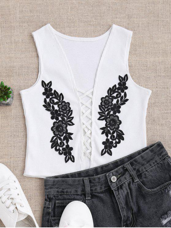trendy Strappy Floral Applique Sleepwear Top - WHITE L