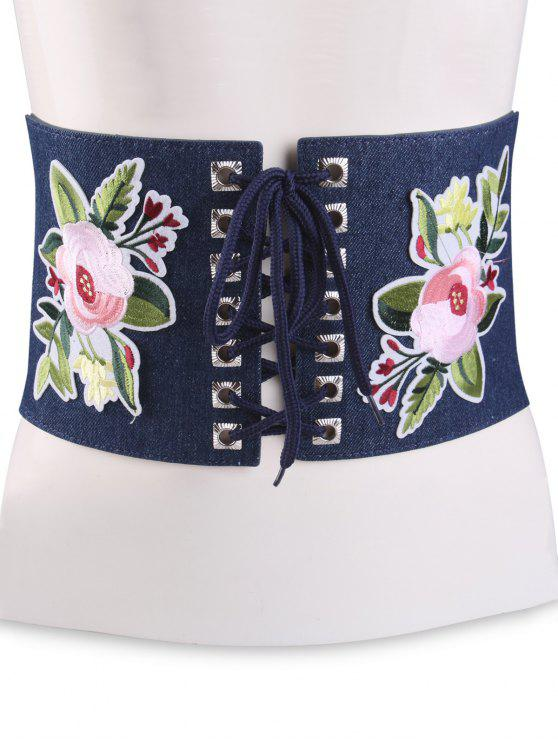 lady Lace Up Floral Embroidery Wide Leather Belt - CERULEAN