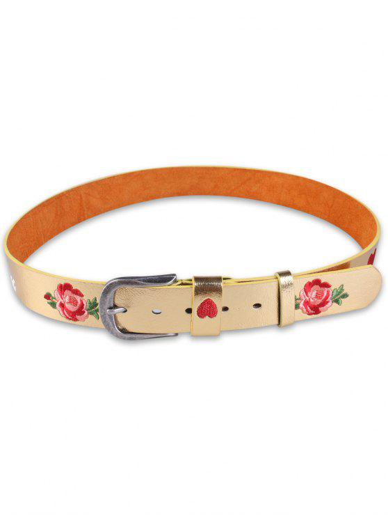 hot Rose Heart Embroidery Faux Leather Casual Belt - GOLDEN