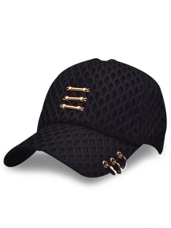 شبكة الطبقات المعادن العصي الدوائر قبعة بيسبول - أسود
