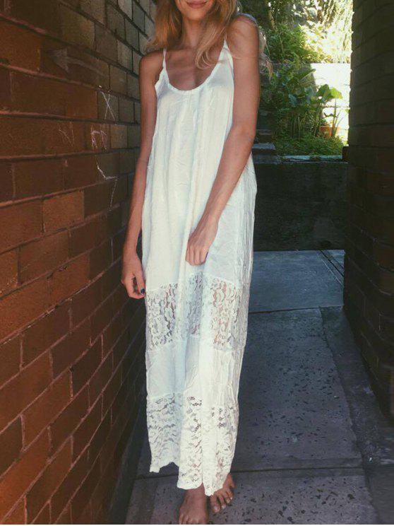 hot Spaghetti Strap Floral Pattern Lace Maxi Dress - WHITE L