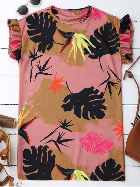 affordable Ruffle Tropical Print Shift Dress - COLORMIX L
