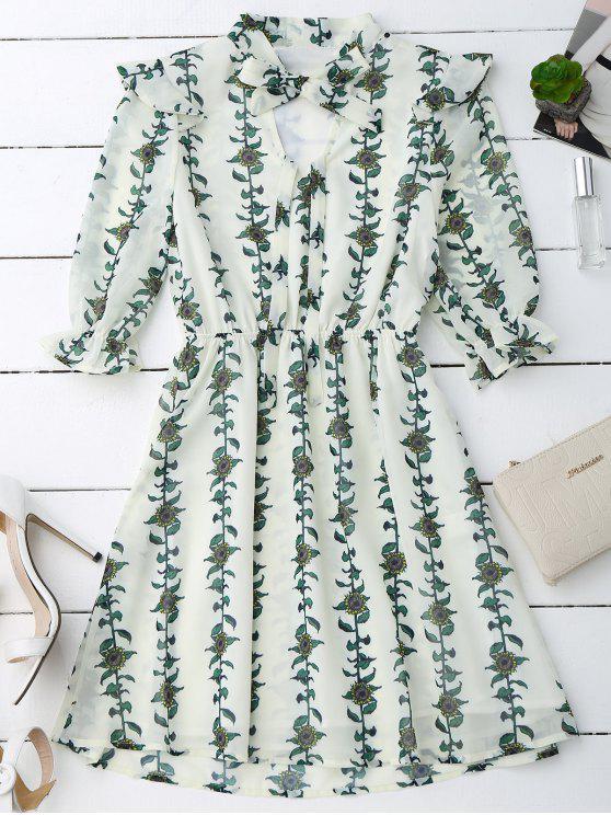 lady Sunflower Print Bow Tie Neck Holiday Dress - PALOMINO L