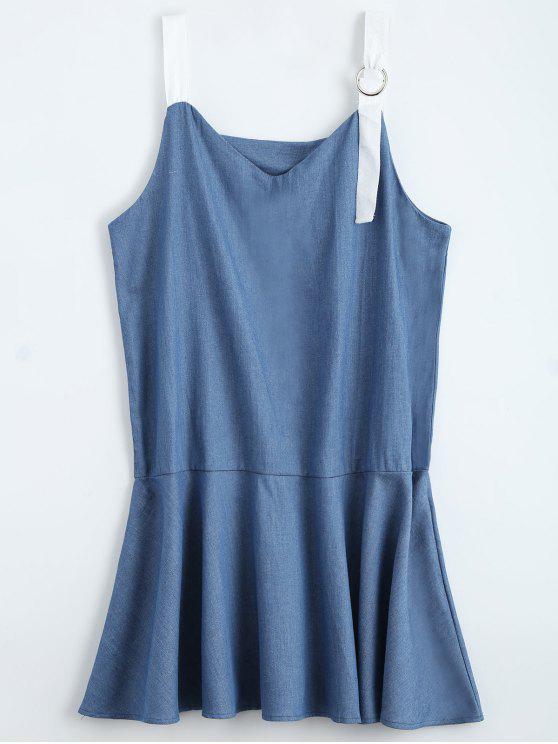 Vestido Jeans De Alcinha e Barra Babado - Jeans Azul L