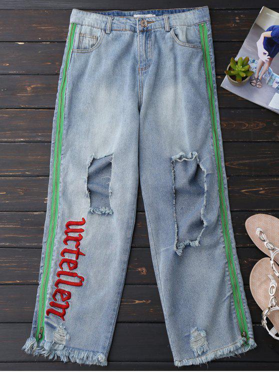 Pantalones vaqueros desgastados afligidos de la cremallera del dobladillo para arriba - Azul Claro M