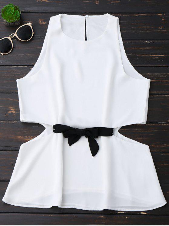 shop Sleeveless Side Cut Chiffon Top - WHITE S