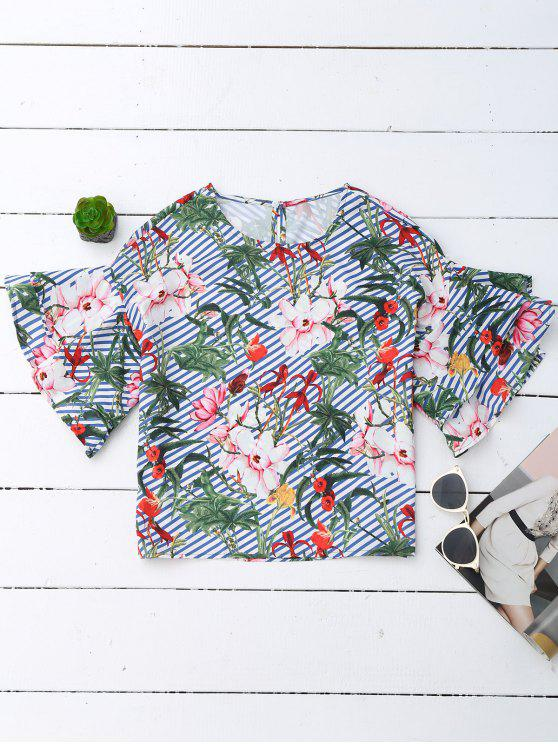 new Floral Ruffle Sleeve Top With Stripe - FLORAL L