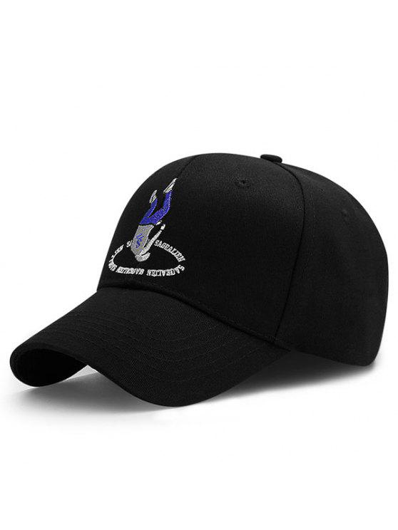 Cappello Da Baseball Ricamato A Letteri E Figura - Nero