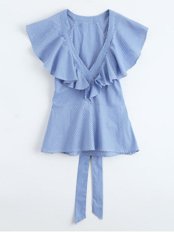 ladies Plunge Ruffle Striped Top With Belt - BLUE M