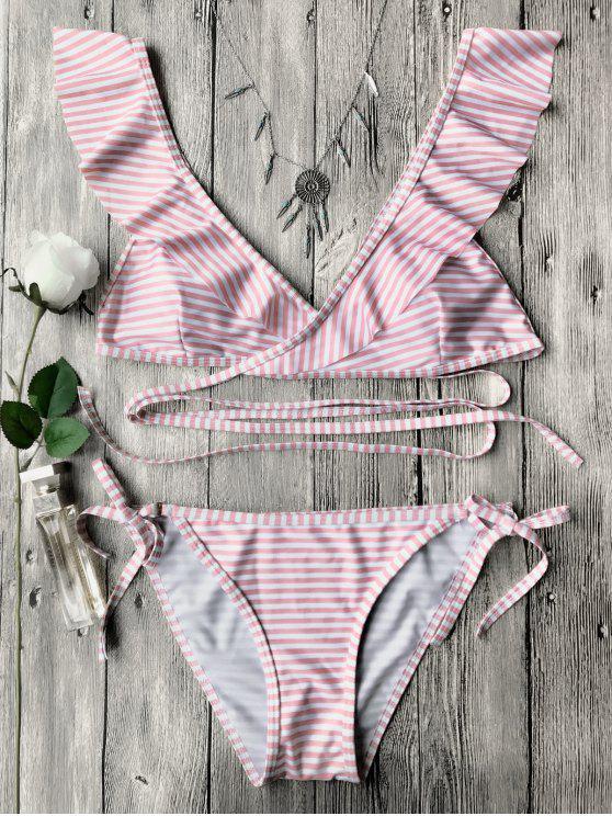 affordable Striped Ruffles Strap Wrap String Bikini Set - PINK L
