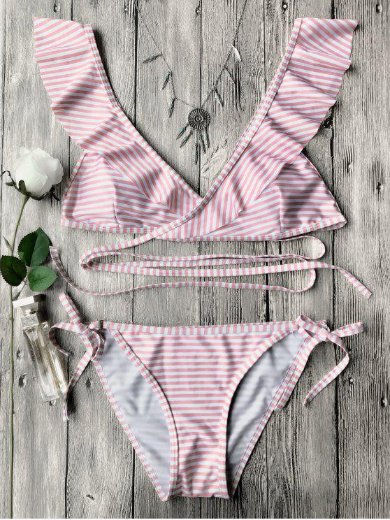 womens Striped Ruffles Strap Wrap String Bikini Set - PINK S