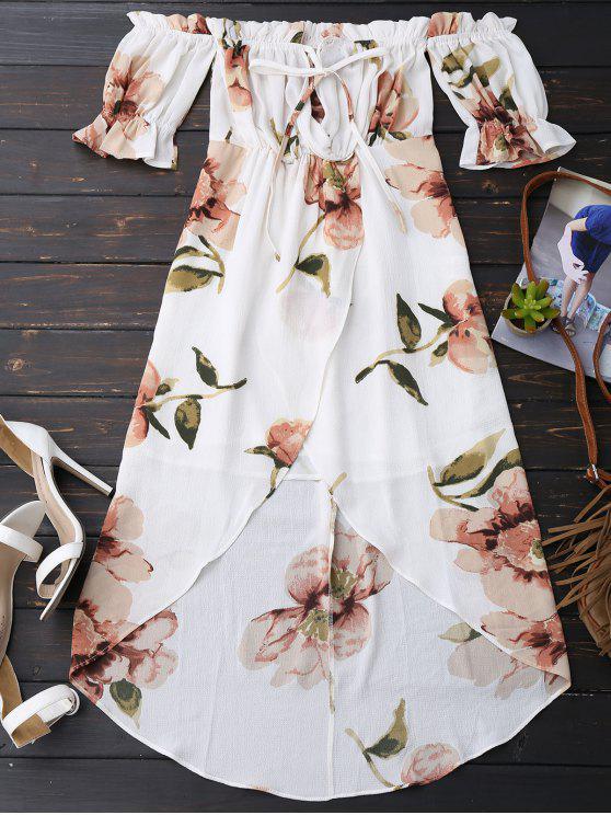 Robe plissée asymétrique épaule dénudée imprimée fleur - Blanc M
