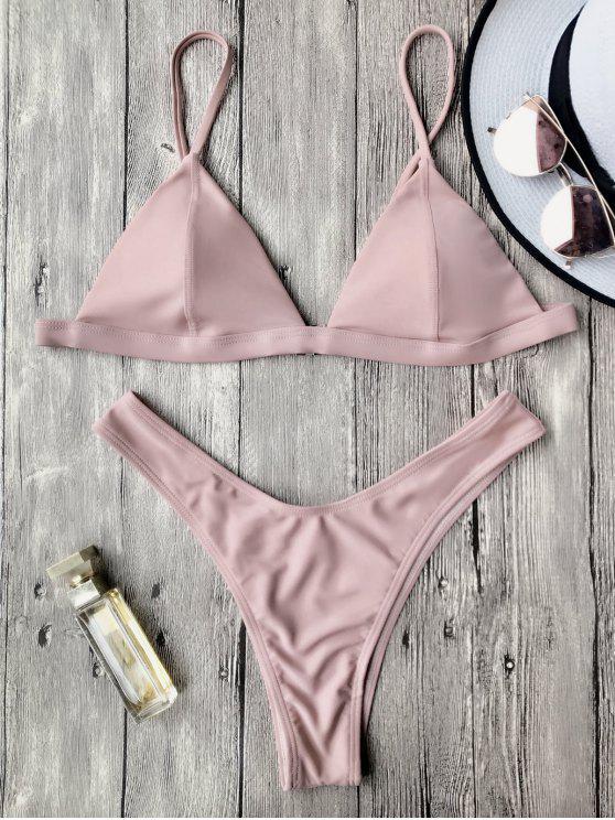 Traje de Bikini con Thong con Relleno con Tirante Fino - Rosa L