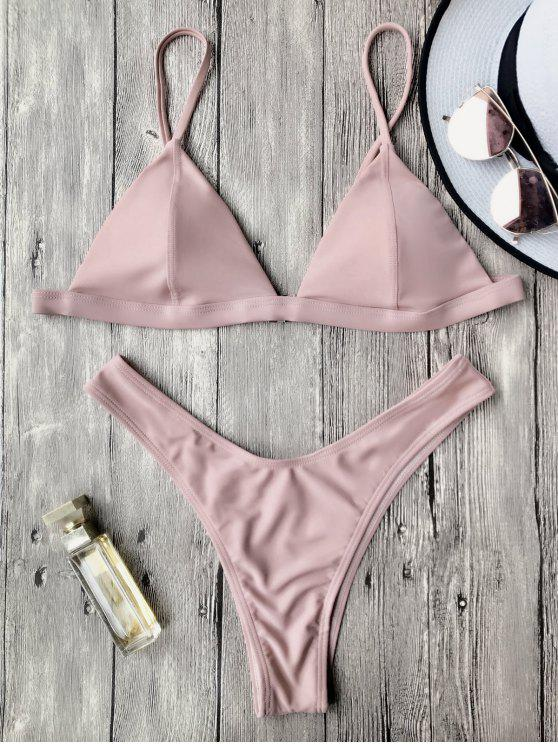 sale Spaghetti Straps Padded Thong Bikini Set - PINK S