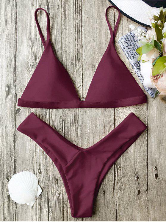 online Soft Pad Spaghetti Straps Thong Bikini Set - BURGUNDY S
