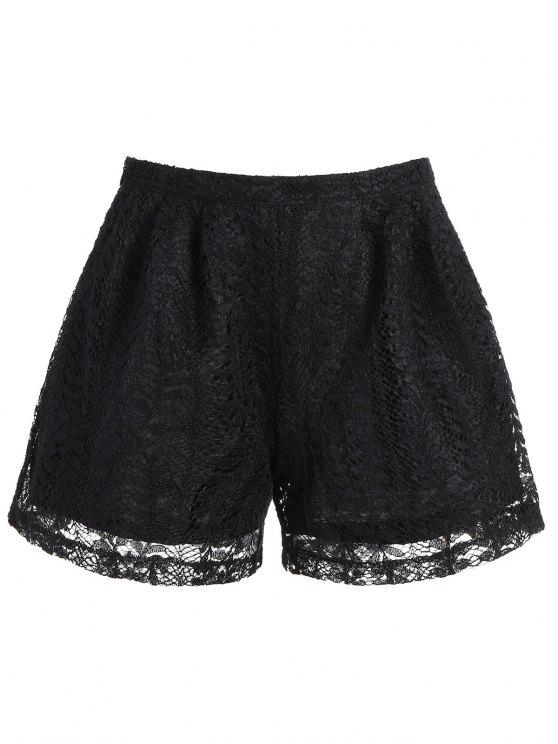 chic High Waisted Double Layer Lace Shorts - BLACK XL