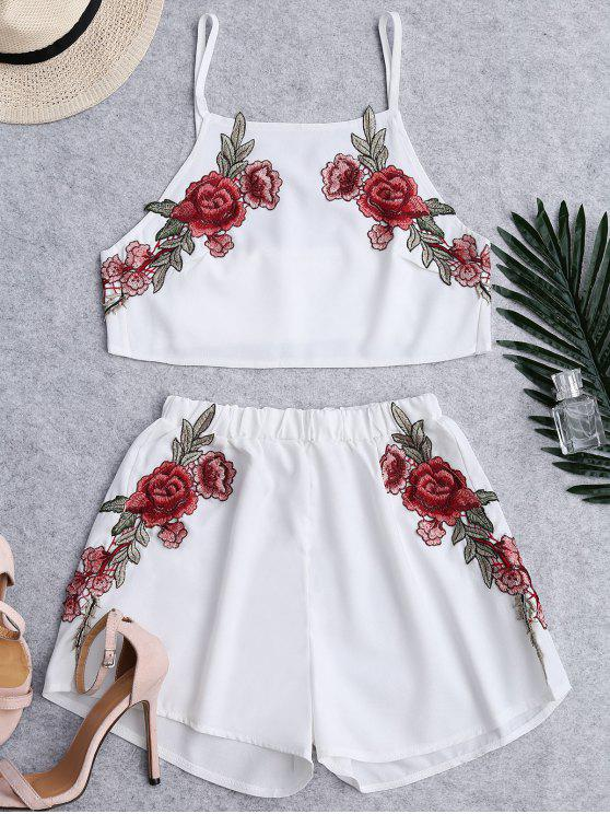 best Floral Patched High Waist Cami Suits - WHITE L