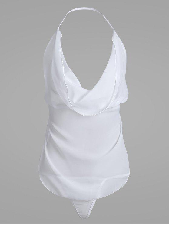 الشيفون عارية الذراعين شير مجموعة الملابس الداخلية - أبيض حجم واحد