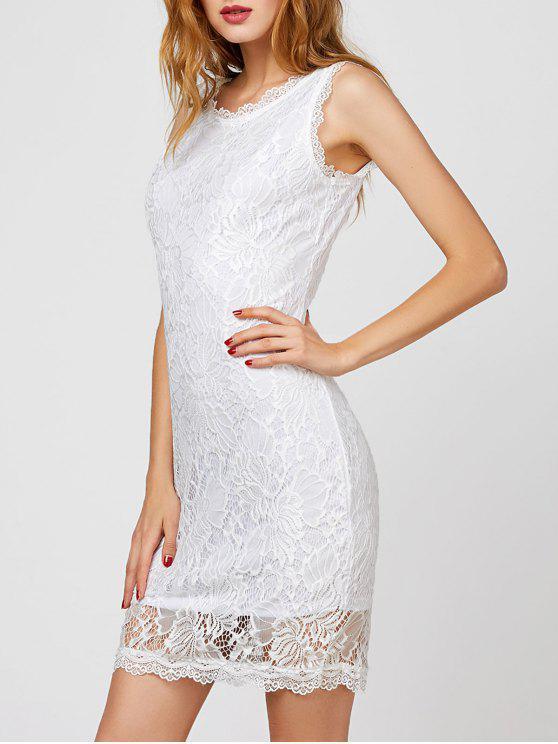 فستان السهرة بلا أكمام - أبيض M