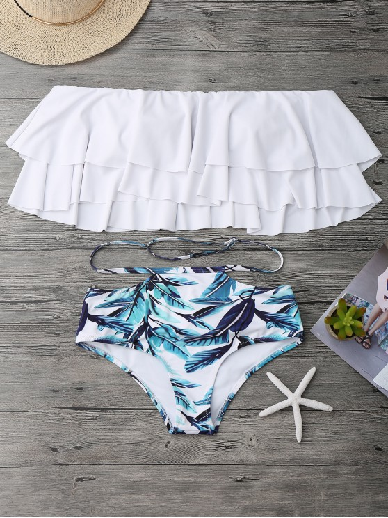 buy Flounce Layers Off The Shoulder Bikini Set - WHITE L