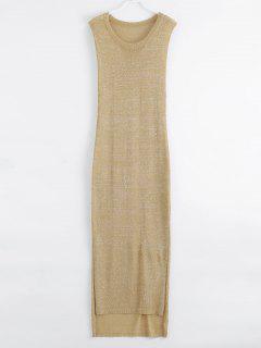 Drop Armhole Maxi Beach Cover Up Dress - Golden L