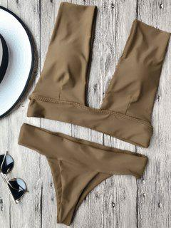 Soft Pad Plunge Bathing Suit - Brown S