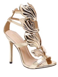 Mini Heel Double Buckle Strap Sandals - Golden 38