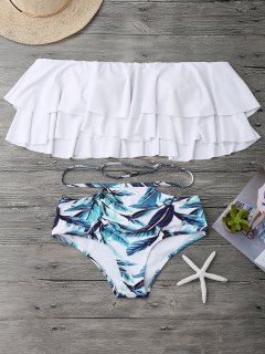 Flounce Layers Off The Shoulder Bikini Set - White L
