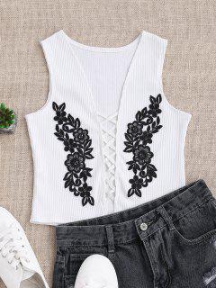 Strappy Floral Applique Sleepwear Top - White L