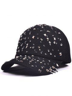 Rivet Sequin Embellished Mesh Baseball Cap - Black
