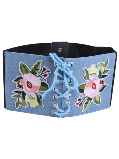 Lace Up Floral Embroidery Wide Leather Belt - Light Blue