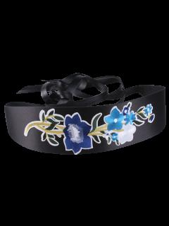 Chinoiserie Flowers Embroidered Wide Corset Belt - Blue
