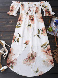 Off Shoulder Ruffle Asymmetric Floral Dress - White L