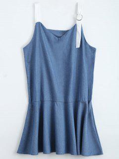 Straps Ruffle Denim Dress - Denim Blue S