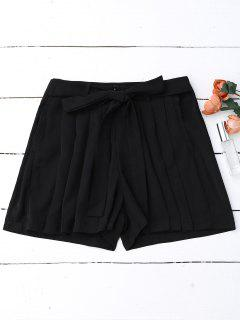 Pleated Skirted Wide Leg Shorts - Black M