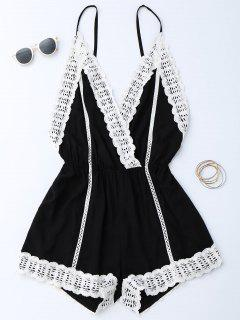 Plunge Lace Trim Open Back Romper - Black S