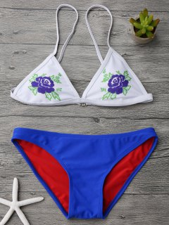 Cami Plunge Low Waisted Bikini Set - Blue S