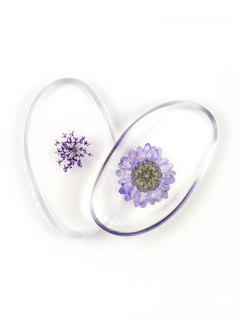 SIXPLUS 2Pcs Dried Flower Embedded Silicone Makeup Sponges - Light Purple