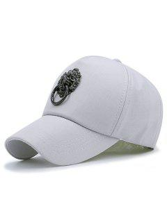 Metal Lion Door Buckle Embellished Baseball Hat - Gray