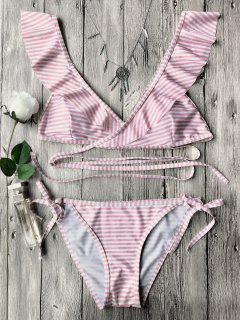 Streifen Rüschen Bindeband Gewicktes String Bikini Set - Rosa S