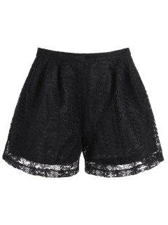 High Waisted Double Layer Lace Shorts - Black L
