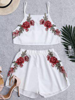 Floral Patched High Waist Cami Suits - White M