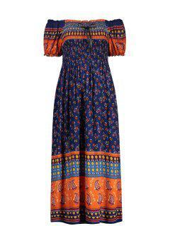 Elastic Chest Puff Sleeve Midi Print Dress - Deep Blue