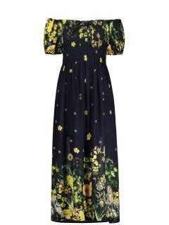Puff Sleeve Elastic Chest Midi Flower Dress - Black