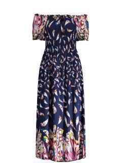 Puff Sleeve Elastic Chest Midi Feather Dress - Deep Blue