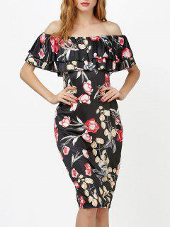 Off The Shoulder Floral Ruffle Layer Dress - Black Xl
