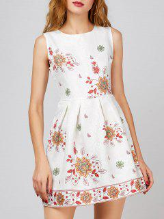 Floral A Line Sleeveless Short Dress - White M