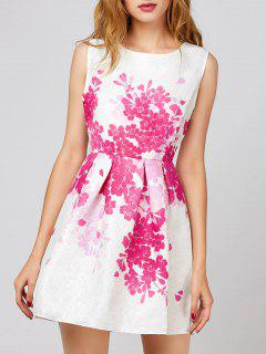 Floral Sleeveless Short Dress - White S