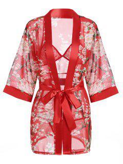 Vestido De Gasa Con Estampado Floral - Rojo L