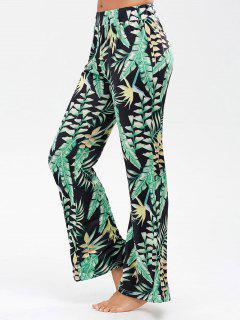 Pantalones Rectos Anchos Con Impresión De Hoja De Palma - Negro L